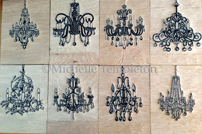 all 8 chandeliers ready to be printed